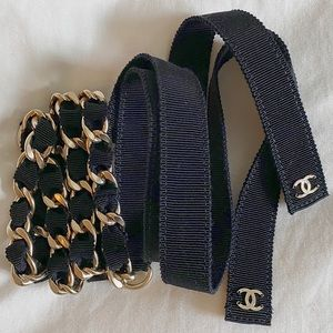 NEW CHANEL Chain Belt with Grosgrain Ribbon
